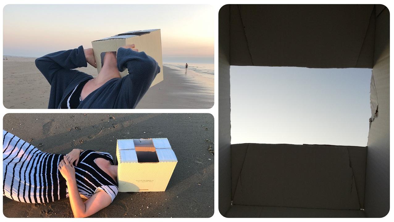 Collage aus drei Bildern: Die Künstlerin mit Pappkarton auf dem Kopf und Blick durch den Pappkartone
