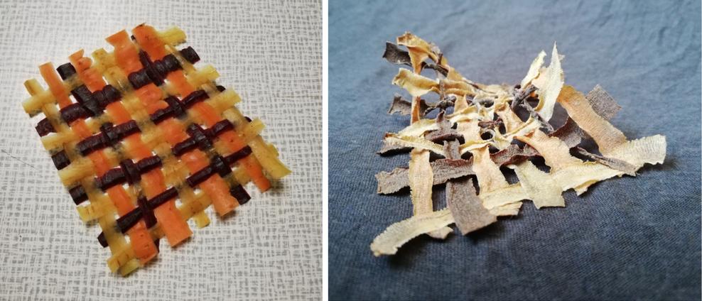 Schalenstreifen von gelben, orangenen und lila Karotten, gewoben, frisch und nach dem Trocknen (Collage)
