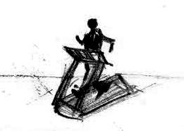 Zeichnung einer Person auf einem Laufband