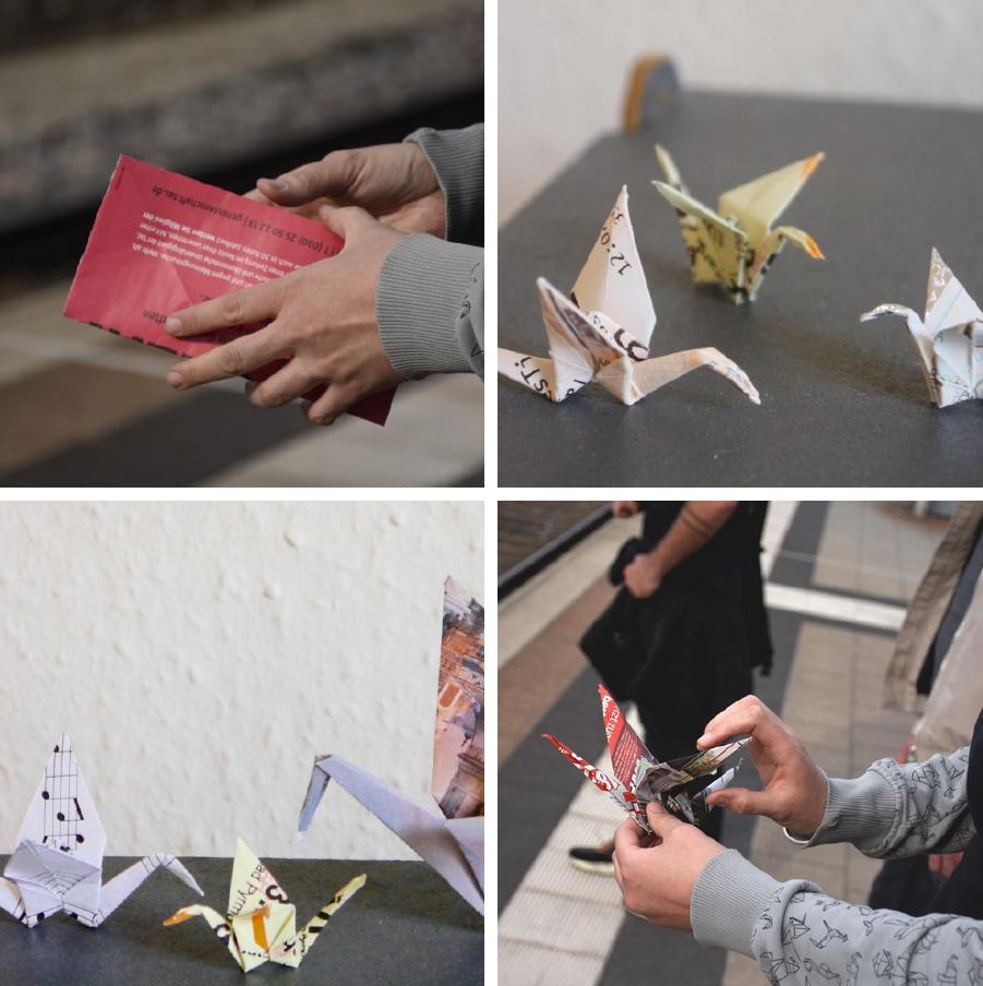 Collage: aus Papier gefaltete Kraniche. Hände die einen Kranich falten